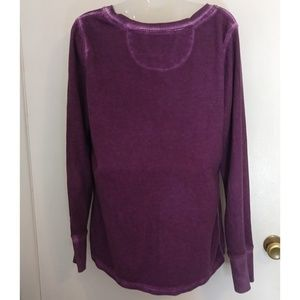 Life Is Good Tops - Life Is Good Purple Bleached Grunge Thermal Top L